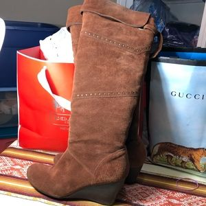 NICOLE rust suede leather wedge knee tall boot